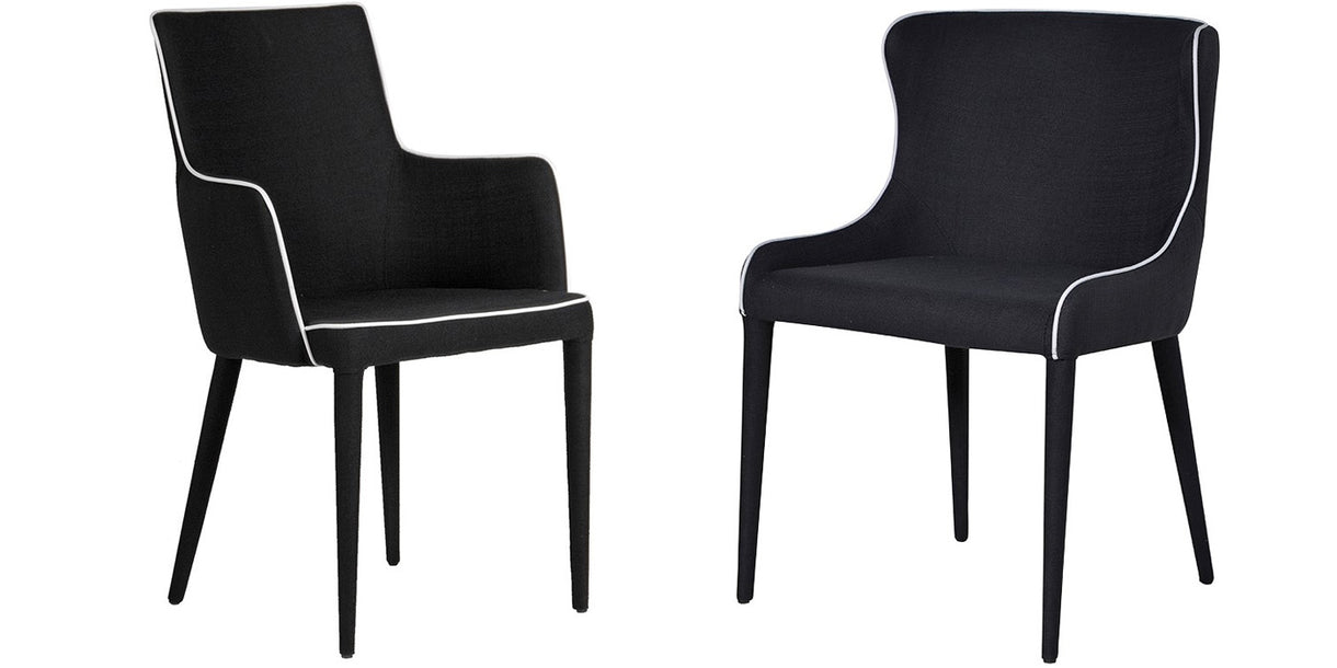 Alicia Black Upholstered Dining Chairs with White Piping