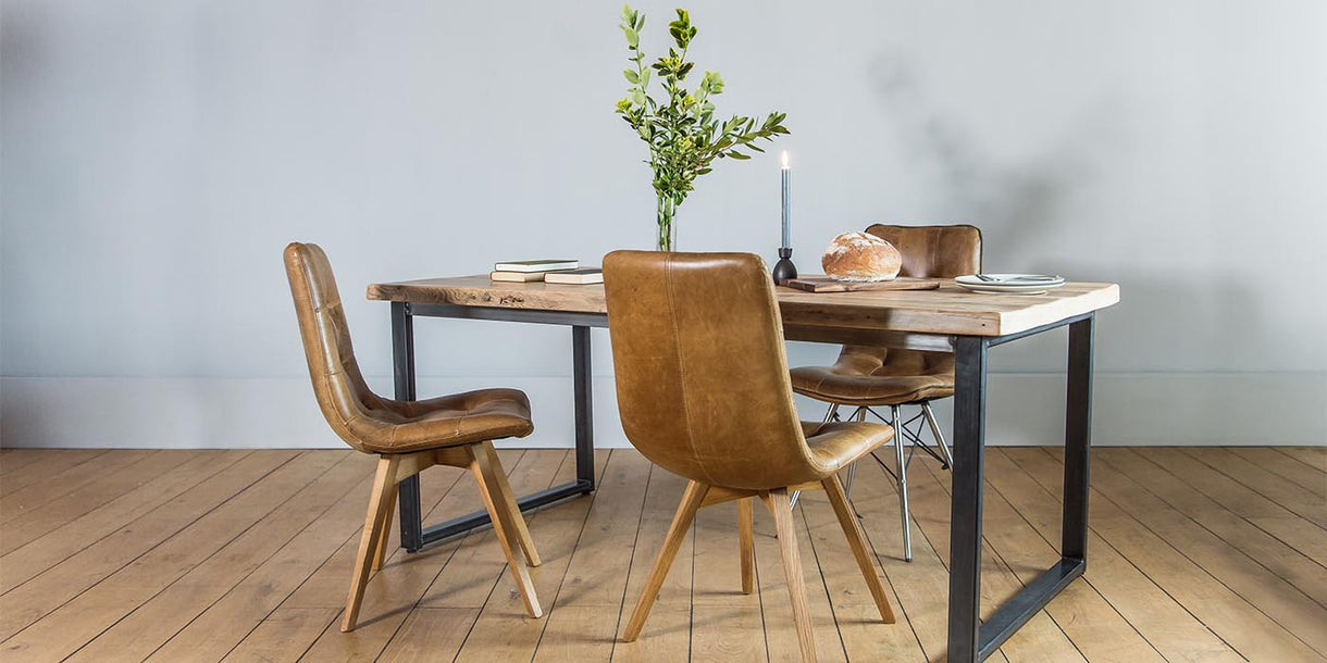 Leather Dining Chairs Around Dining Table with Steel Legs