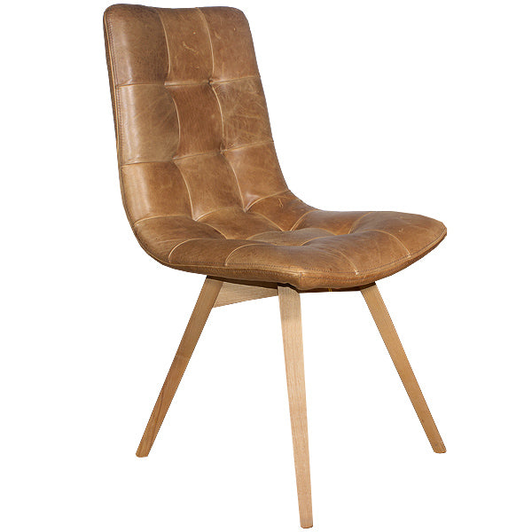 Brown Leather Dining Chair with Angled Legs