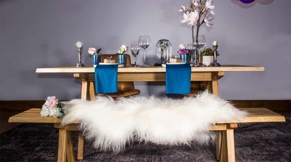 Allegro Oak Dining Table and Sheepskin Rug