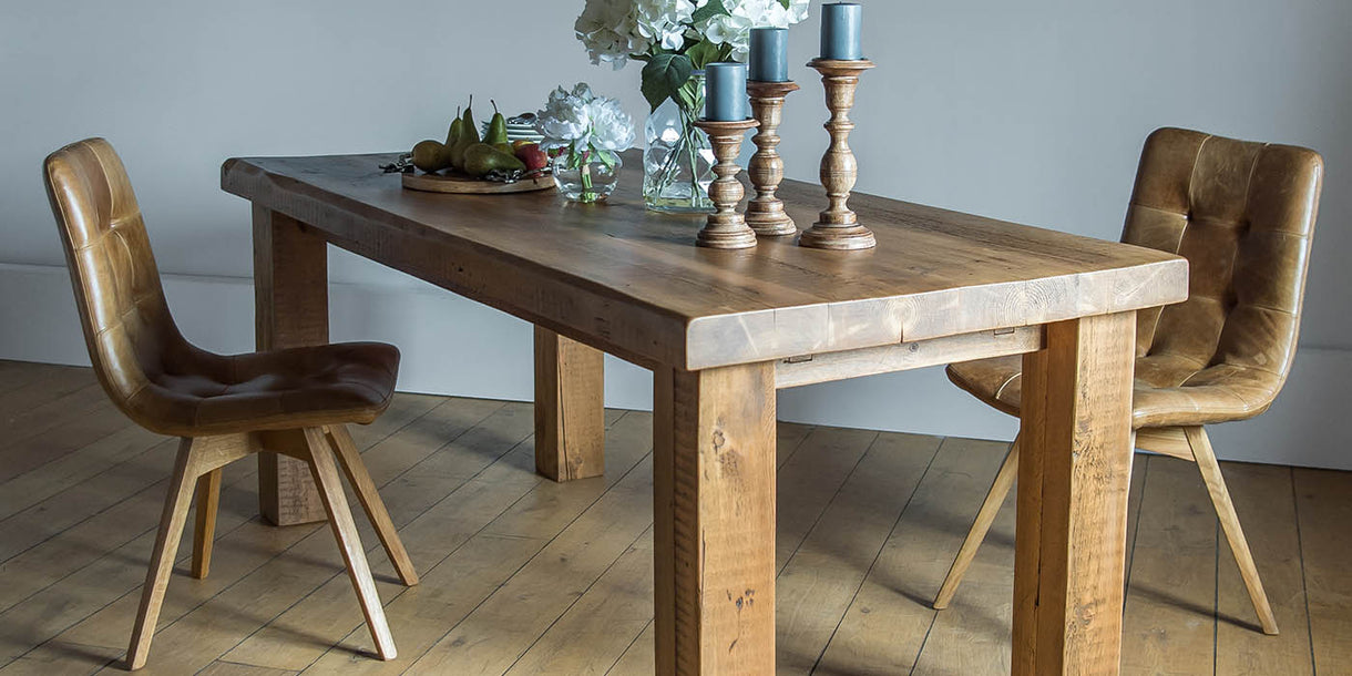 Allegro Cerato Leather Dining Chairs And Reclaimed Table