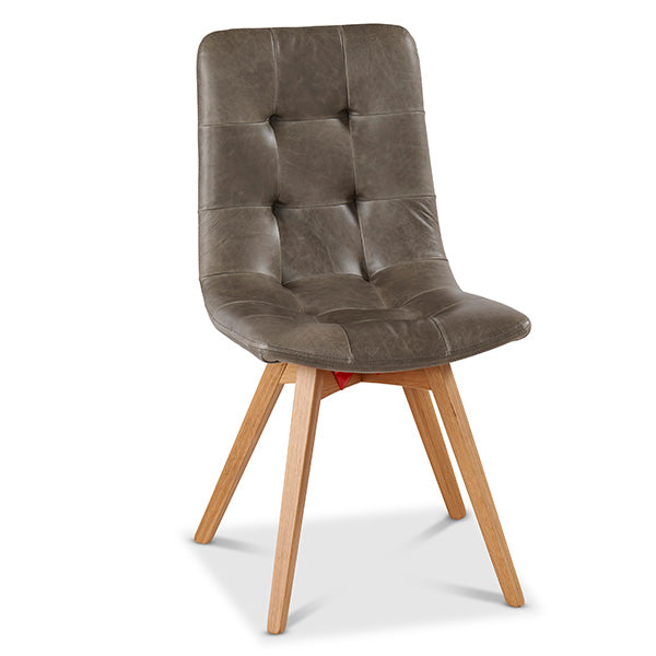 Allegro Leather Dining Chairs with Wooden Legs