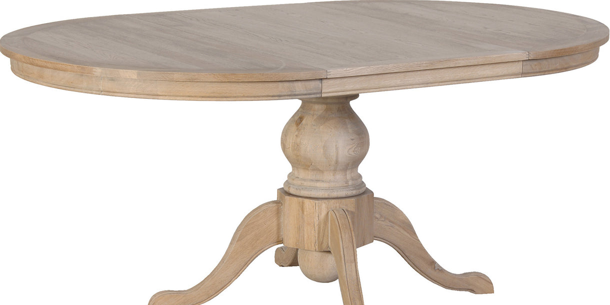 Alton Weathered Oak Round Extending Dining Table Extended