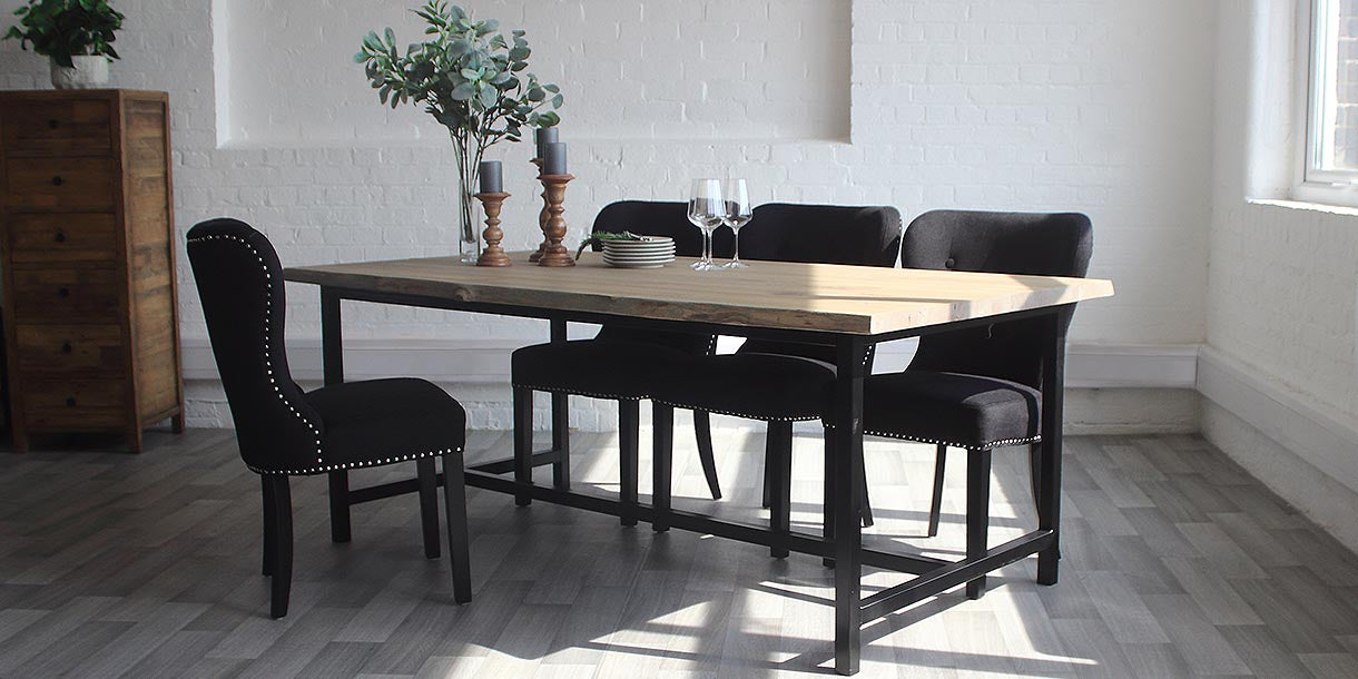 Amalfi Industrial H-Bar Oak Dining Table and Black Fabric Chairs