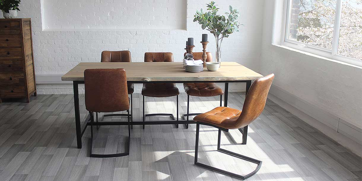 Amalfi Oak Dining Table and Leather Dining Chairs