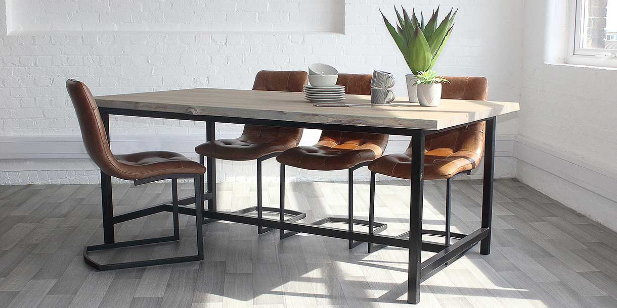 Amalfi Industrial Oak Dining Table and Leather Chairs