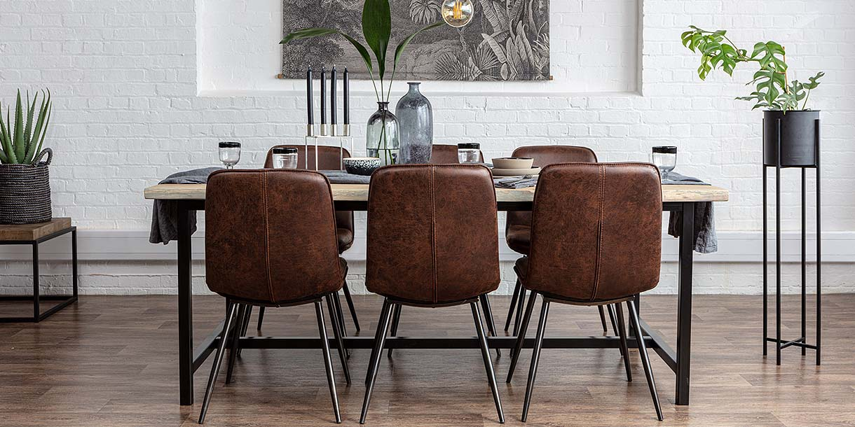 Amalfi Industrial H-Bar Oak Dining Table and Brown Leather Dining Chairs
