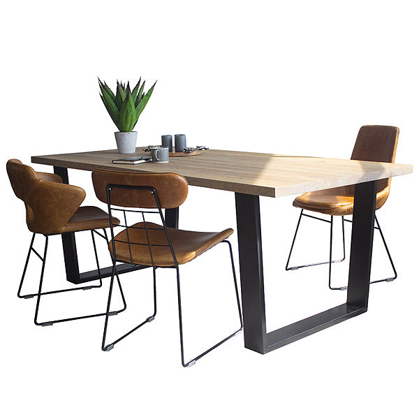 Amalfi U Bar Oak Dining Table and 3 Leather Chairs