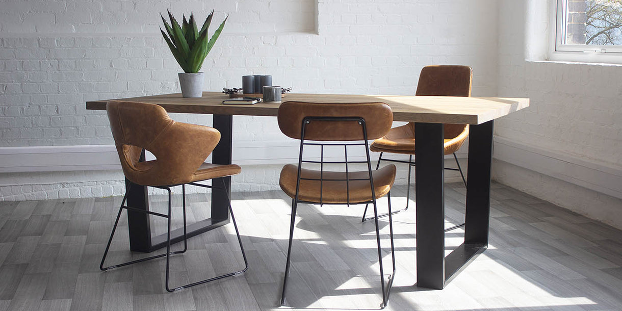 Amalfi U Bar Industrial Oak Dining Table and Industrial Chairs