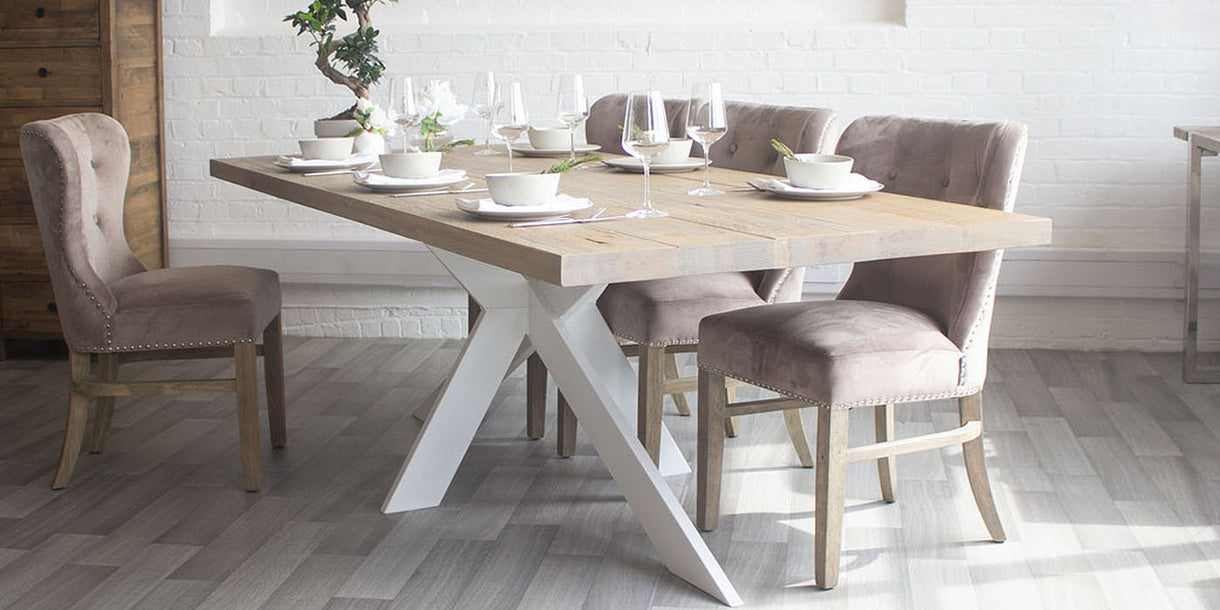 Amalfi White Spider Leg Oak Dining Table and Fabric Chairs