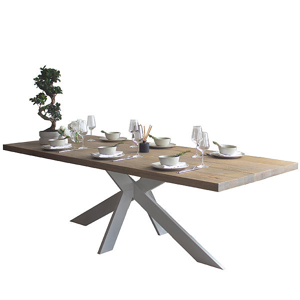 Amalfi Oak Dining Table with White Painted Leg