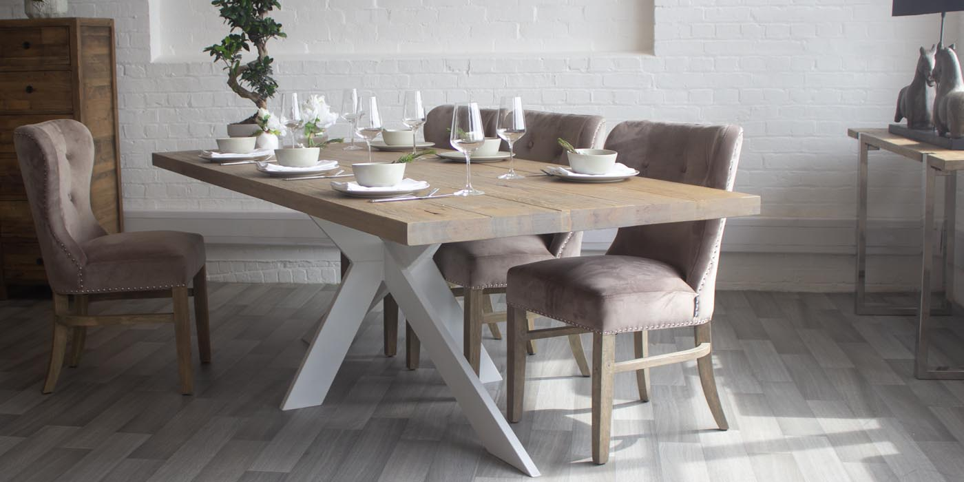 Amalfi Oak Industrial Dining Table and Velvet Dining Chairs