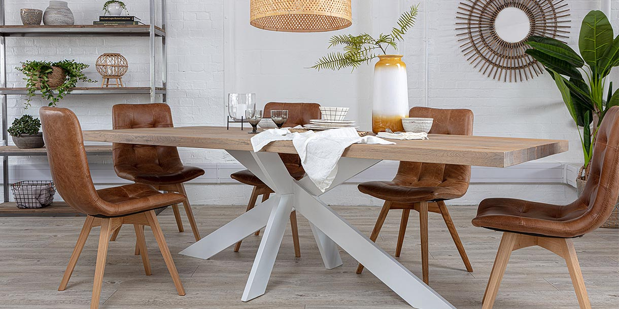 Amalfi White Spider Leg Oak Dining Table and Brown Leather Chairs