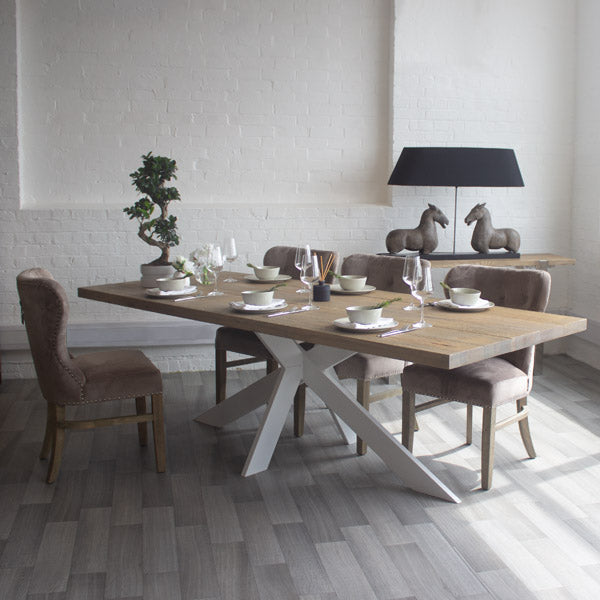 Amalfi Oak Dining Table with White Spider Leg
