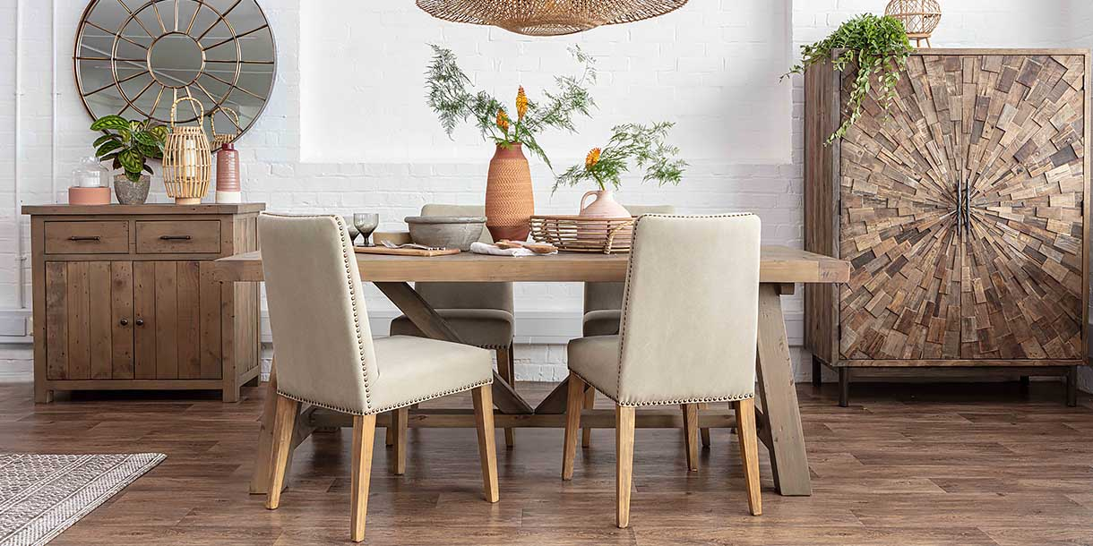 Ambrose Upholstered Dining Chairs and dining table