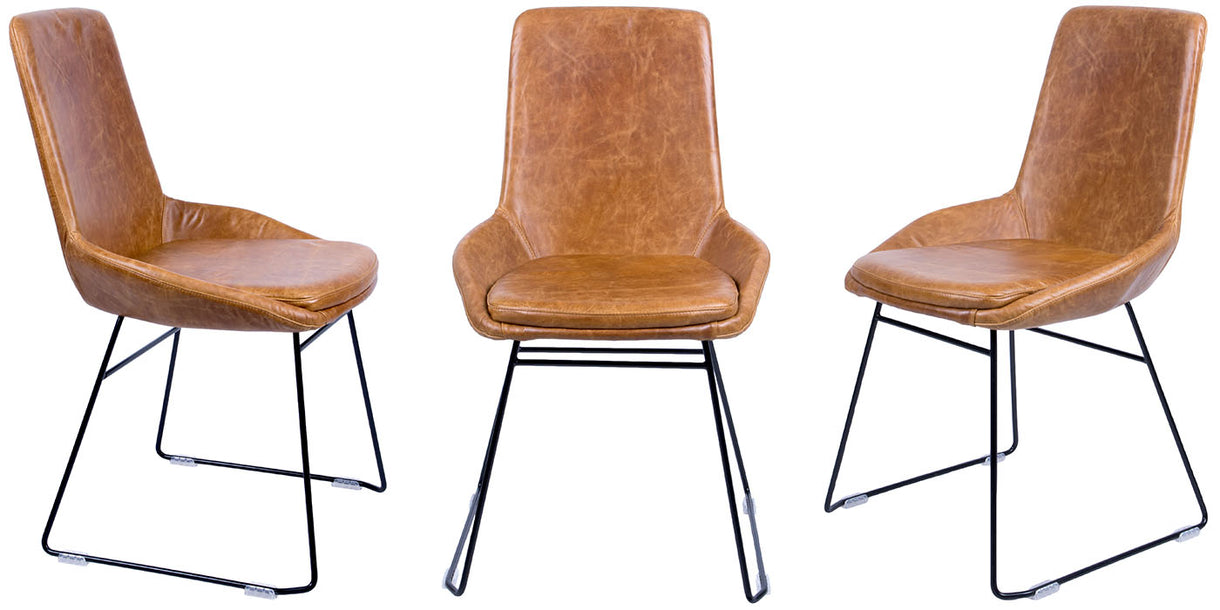 Avery Brown Leather Dining Chairs