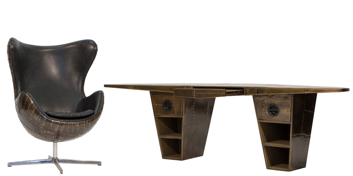 Aviator Vintage Jet Brass Wing Desk and Armchair