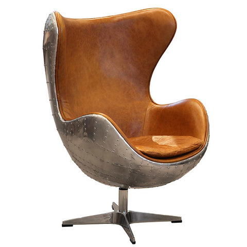 Aviator wing desk chair with leather