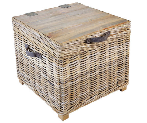 Medium storage side table made of wicker and wood