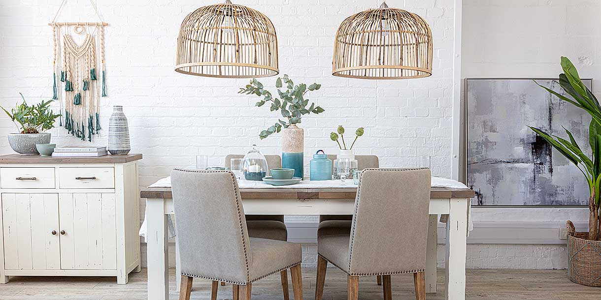 Bamboo Darcy Pendant Lights above dining table