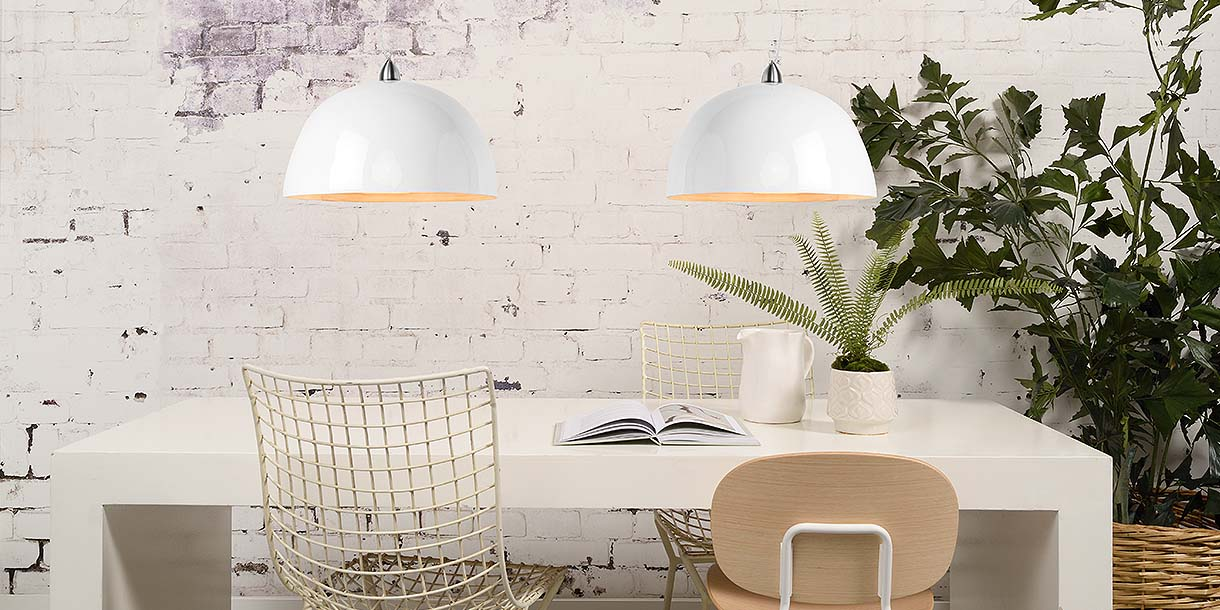 Bamboo Half Moon Double White Pendant Lights above dining table