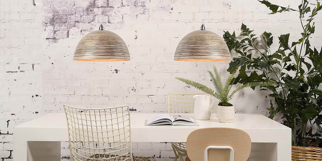 Bamboo Half Moon Pendant Lights above dining table