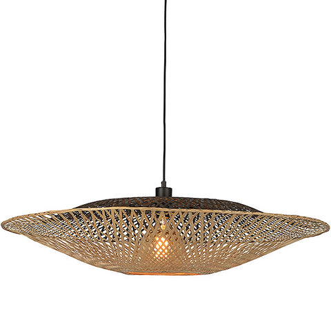 Beige and black bamboo pendant light