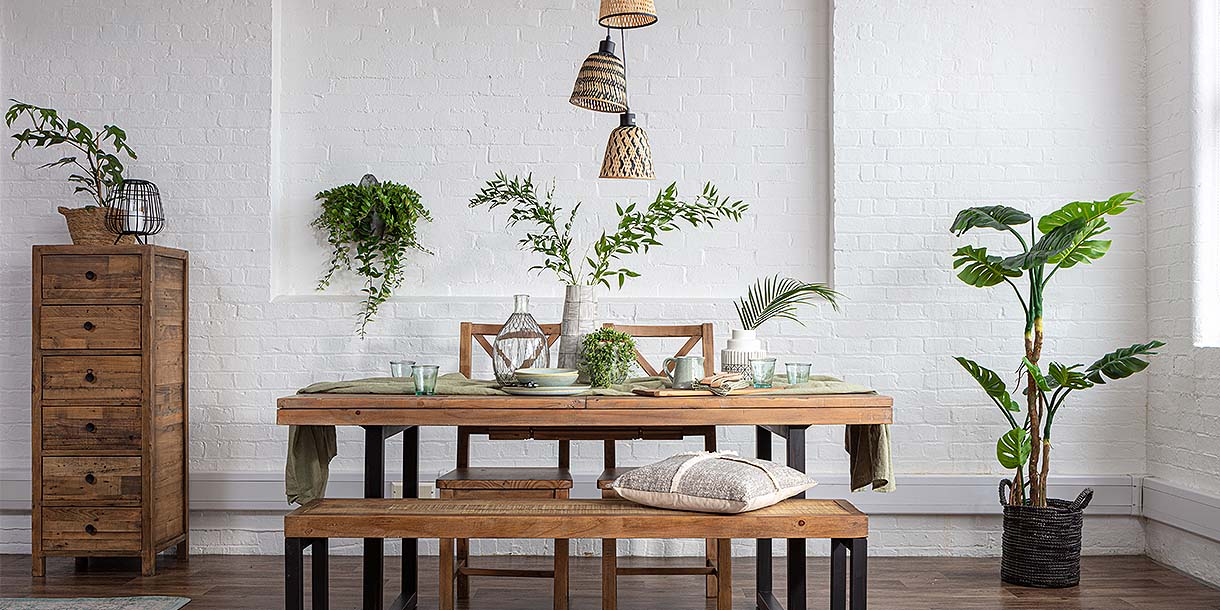 Bamboo Manta Triple Pendant Lights Above 6 Seater Dining Table