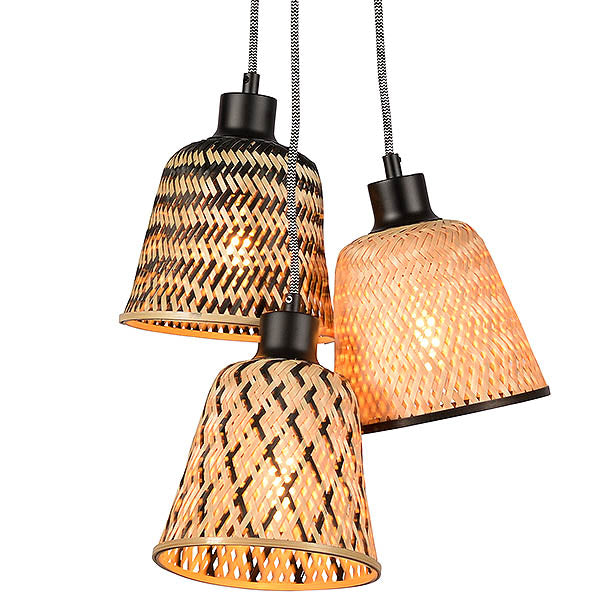 Bamboo Manta Triple Pendant Light
