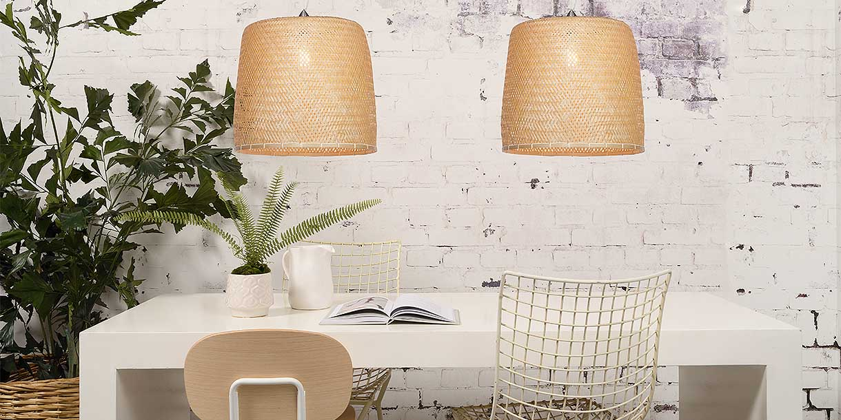 Bamboo Segia Large Double Pendant Lights above dining table