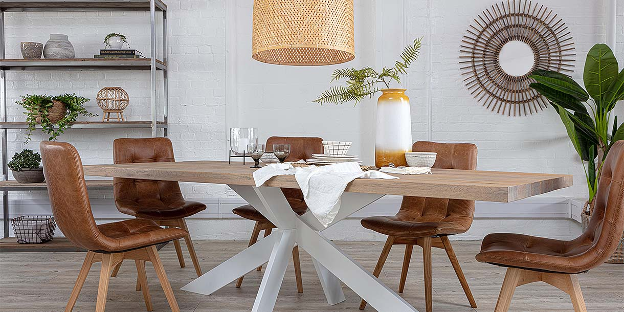 Bamboo Sergia Large Pendant Light above Dining Table with Spider Leg