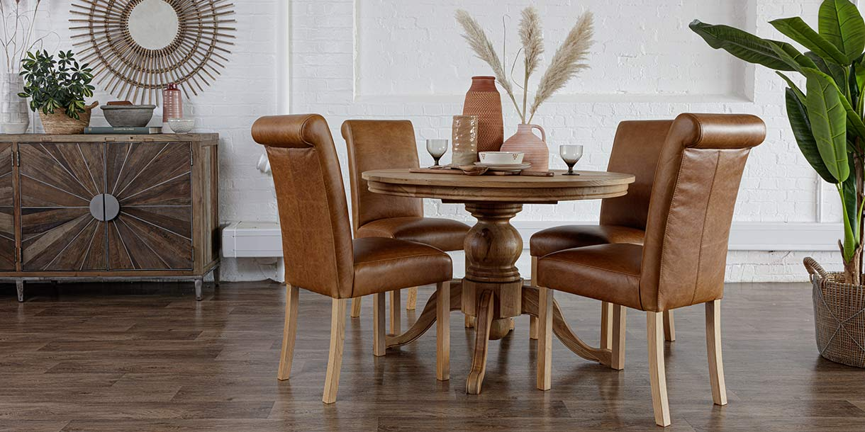 Leather Roll Back Dining Chairs with Alton Round Oak Extending Dining Table
