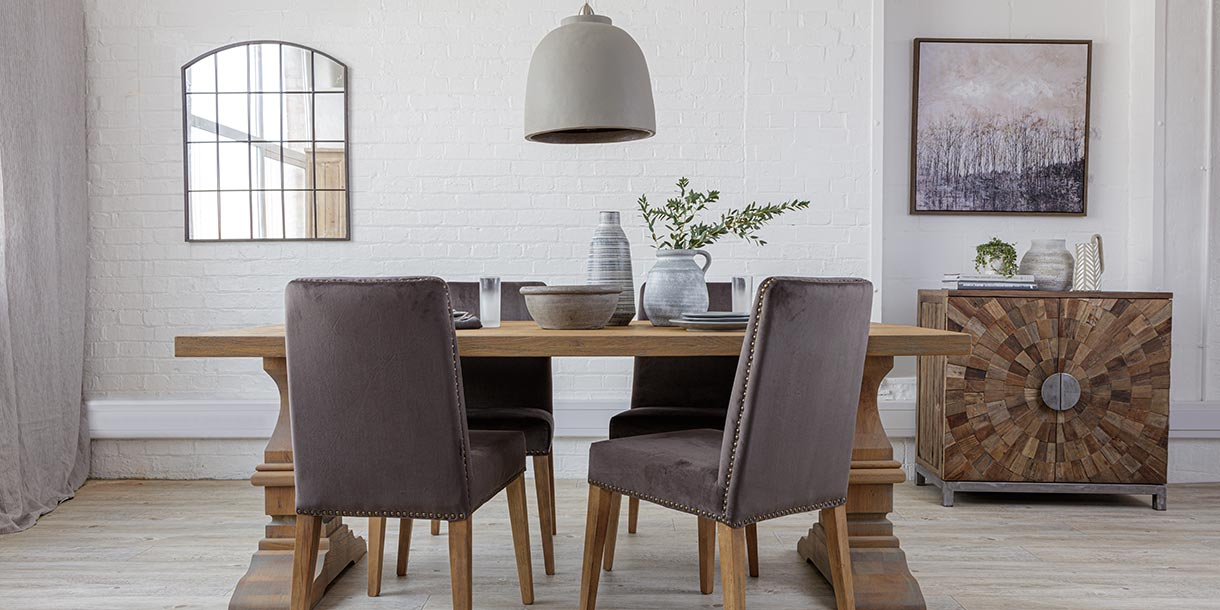 Grey Velvet Dining Chairs with Oak Farmhouse Dining Table with Pedestal Legs