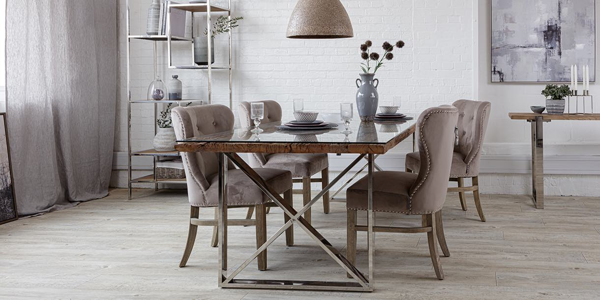 Luxe Kensington Reclaimed Wood Dining Table Glass Top in dining room