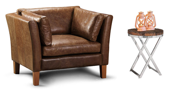 Barkby Brown Leather Armchair and Reclaimed Side Table
