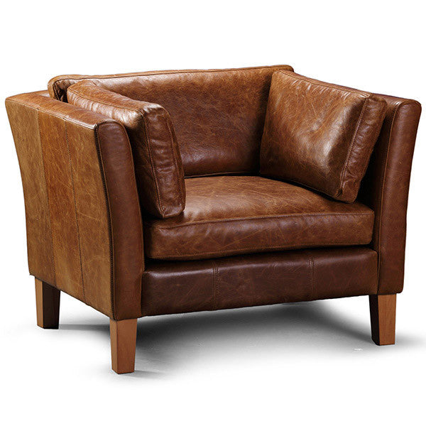 Barkby Leather Armchair with wooden legs