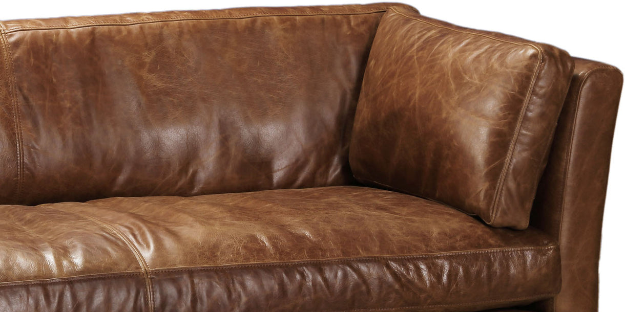 ... Barkby Leather Brown Leather Sofa ...