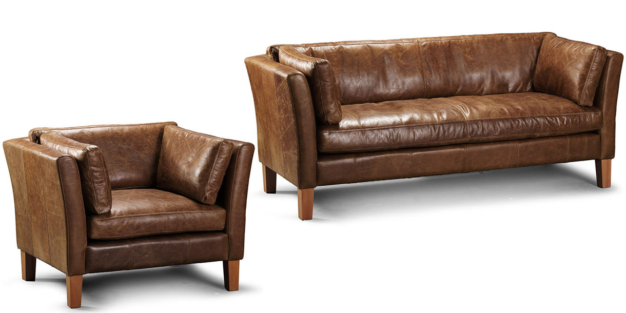 Barkby Leather Sofa and Armchair
