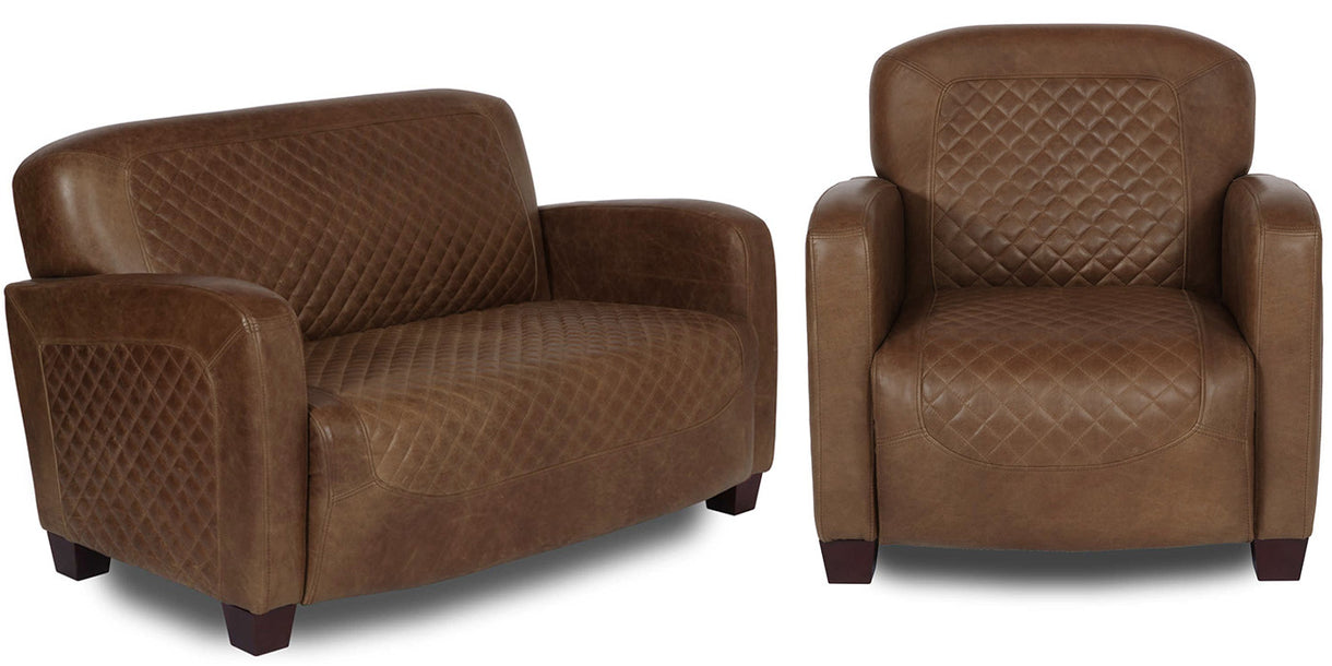 Barnham Brown Leather Sofa and Brown Armchair