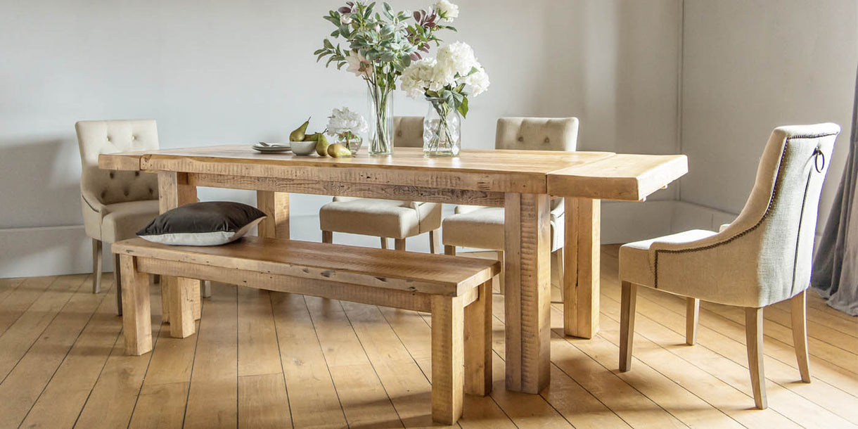 Beam Extendable Reclaimed Wood Dining Table and Dining Bench