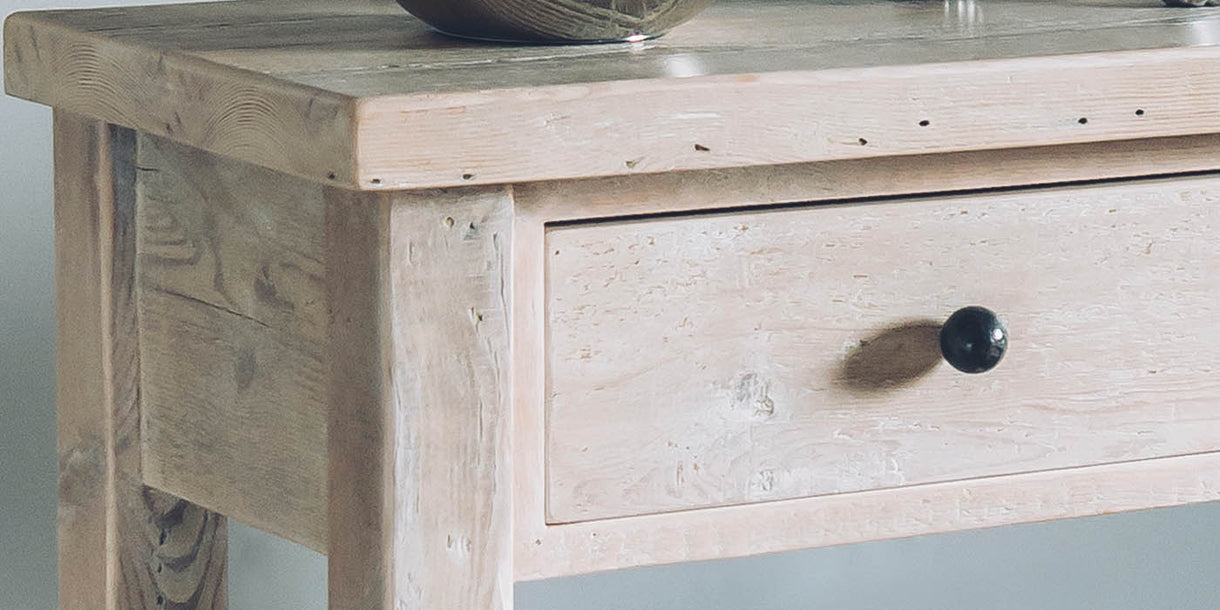 Beam Reclaimed Wood Console Table Close up