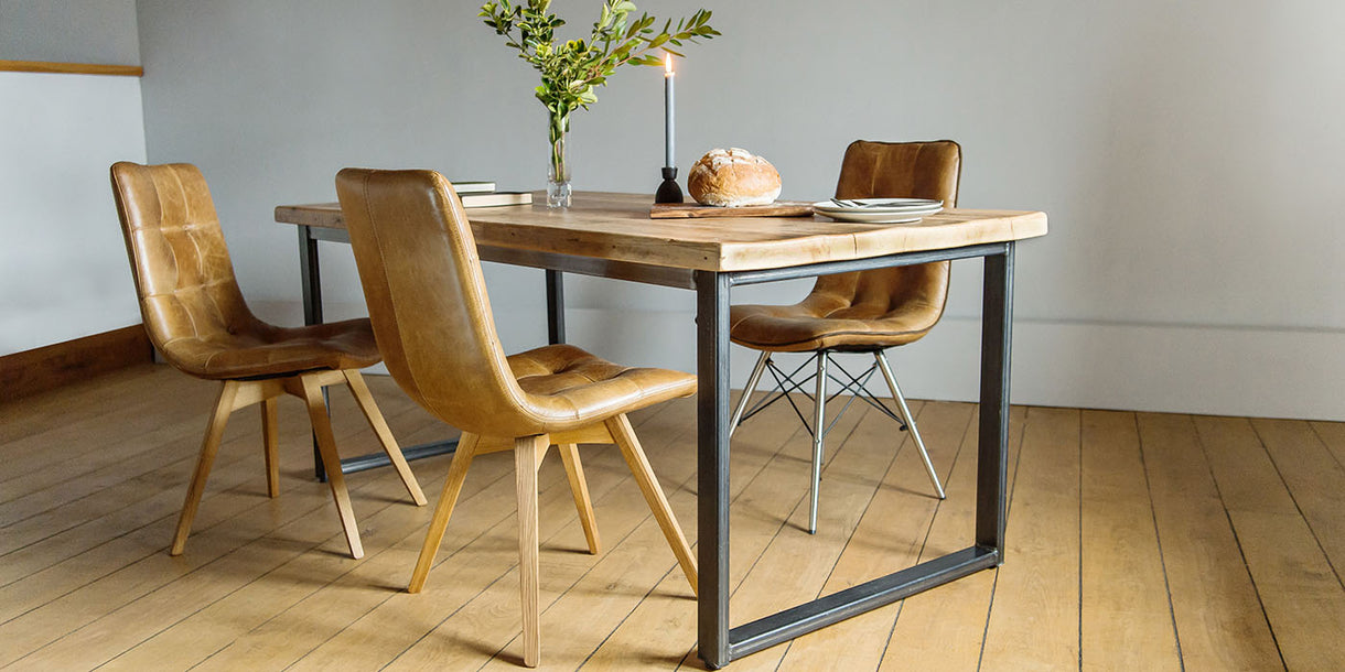 Beam Industrial Reclaimed Wood Dining Table and Allegro Chairs
