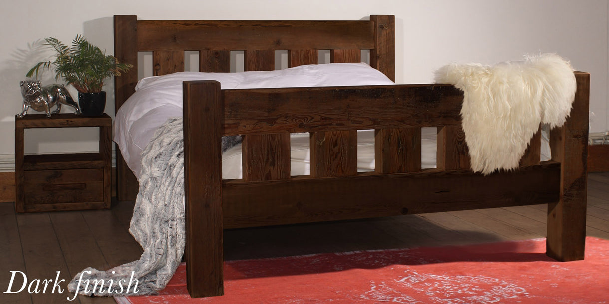 Beam Surrey Reclaimed Wood Bed Dark