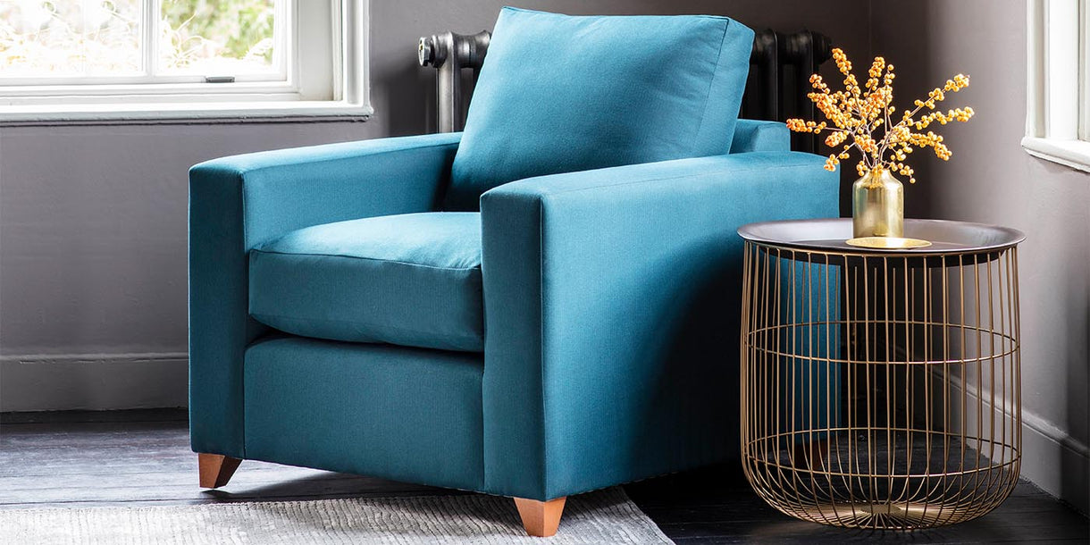 Bedford Blue Fabric Armchair