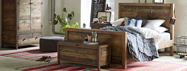Standford High Reclaimed Wood Bed in Bedroom
