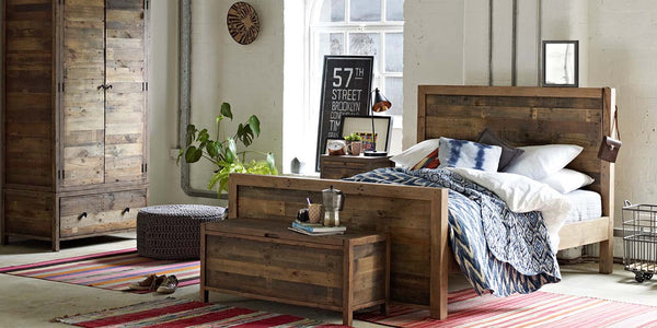Standford Reclaimed Wood Bed and Blanket Box in Bedroom