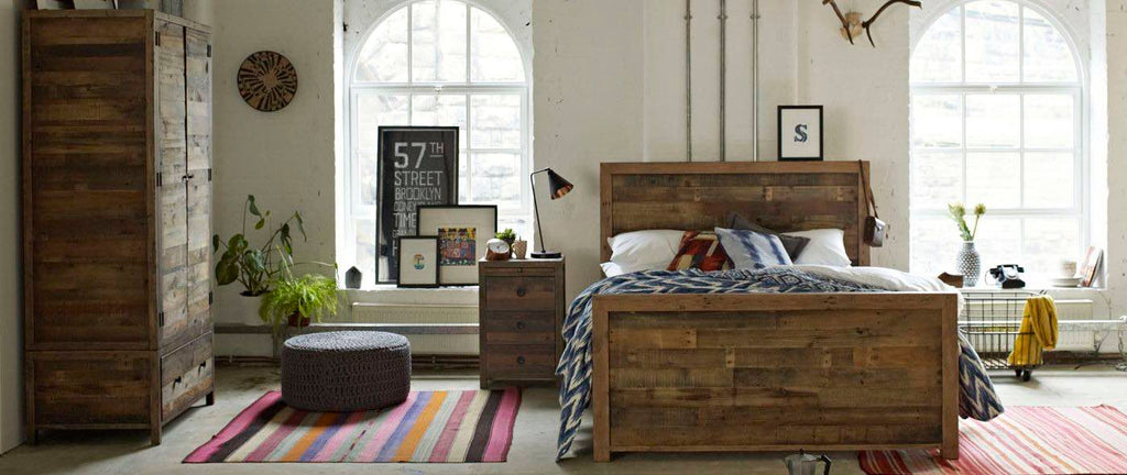 Standford reclaimed wood bed in bedroom