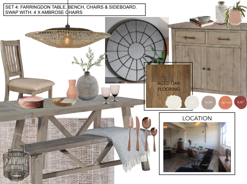 Collage of furniture and homeware in earthy tones
