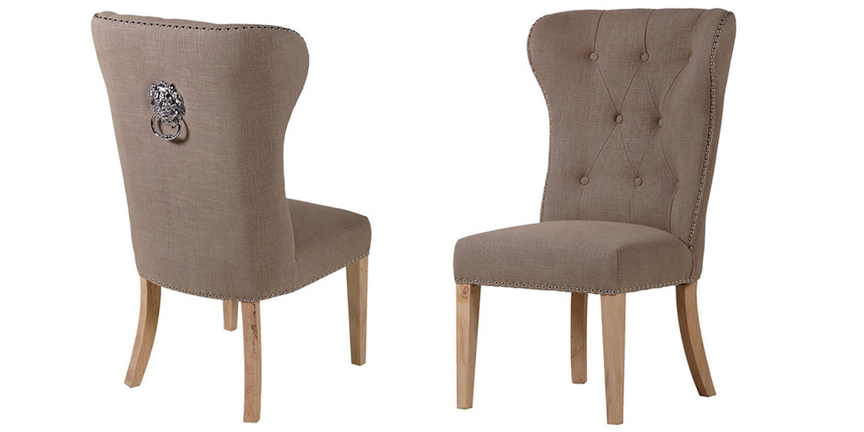 Beige Dining Chairs With Lion Knocker