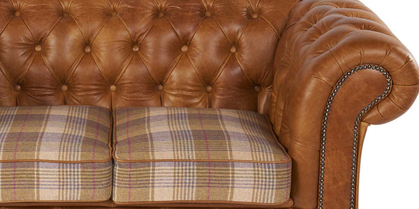 Birley Leather and Harris Tweed Sofa